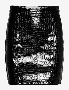 PU MINI SKIRT - jupes crayon - black croco