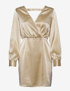 V NECK DRAPY DRESS - krótkie sukienki - gold