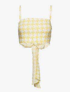 Bow Cami Crop Top - blouses sans manches - yellow pepita print