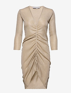 KNITTED DRAWSTRING LUREX DRESS - robes moulantes - light gold