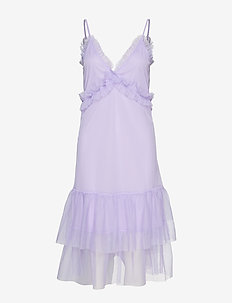 SHOULDER STRAP FRILL DRESS - LAVENDER