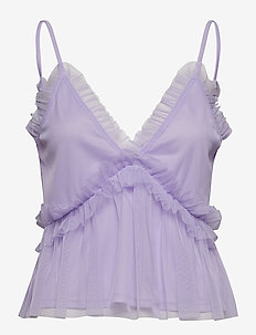 FRILL SHOULDER STRAP TOP - LAVENDER