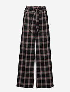 CHECK HIGH BELTED PANTS - pantalons larges - black check