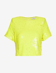 Sequin Tshirt - navel shirts - yellow