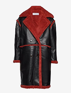 TEDDY COAT - BLACK/BURNT RED