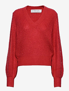 POINTELLE SLEEVE KNIT - BURNT RED