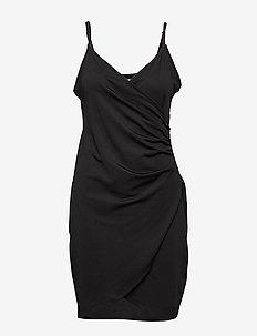 DRAPY WRAP DRESS - BLACK
