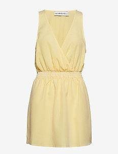 WRAP MINI DRESS - YELLOW STRIPE