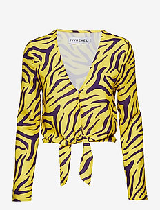 Tie Front Top - blouses à manches longues - purple/yellow