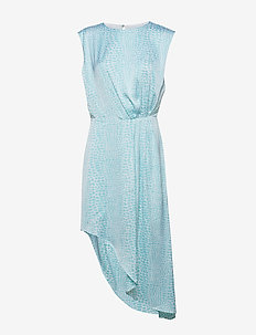 Assymetric Dress - LIGHT BLUE CROCO PRINT