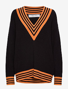 OVERSIZED KNIT - pulls - black/orange