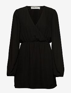 BALLOON SLEEVE DRESS - robes portefeuille - black