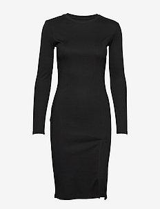 RIB KNIT SLIT DRESS - midi kjoler - black