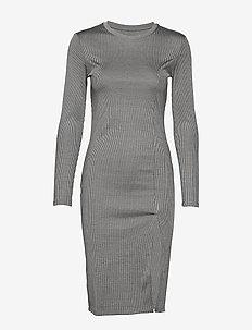 RIB KNIT SLIT DRESS - midi kjoler - light grey melange