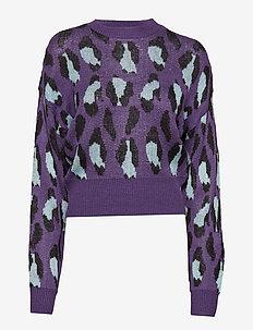 BAT SLEEVE JAQUARD KNIT - pulls - purple/ light blue/ black