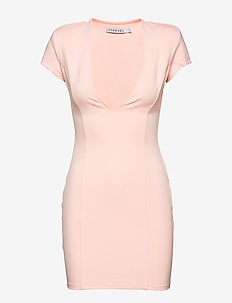 CAPPED SLEEVE PLUNGE MINI DRESS - LIGHT PINK
