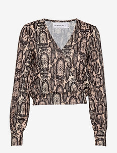 BALLOON SLEEVE TOP - blouses à manches longues - beige snake