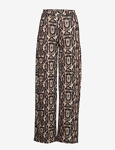 SHINY WIDE LEG PANTS - pantalons larges - beige snake