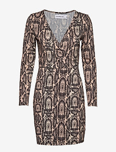 SHINY WRAP DRESS - robes midi - beige snake