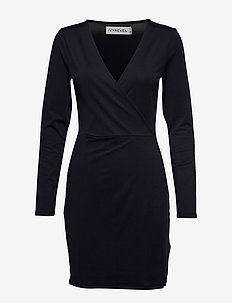 SHINY WRAP DRESS - robes midi - navy