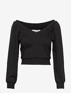 OFF SHOULDER SWEATER - sweats - black