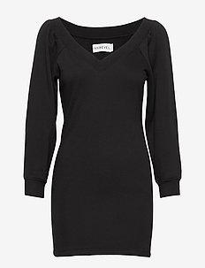 OFF SHOULDER SWEATER DRESS - robes de jour - black