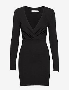 SLIM FIT MINI DRESS - krótkie sukienki - black