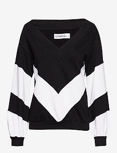 V NECK SWEATER - BLACK/WHITE
