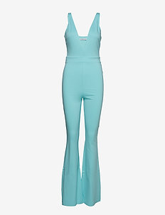 V Neck Flared Jumpsuit - light blue
