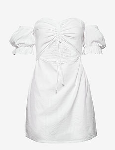 DRAWSTRING PUFF SLEEVE DRESS - robes moulantes - cold white