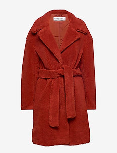 BELTED TEDDY COAT - manteaux de laine - burnt red