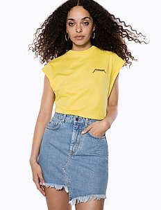 Capped Sleeve Ivy Tshirt - t-shirts imprimés - yellow