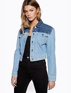 Sharp Shoulder Denim Jacket - vestes en jean - blue