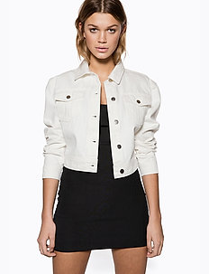 Sharp Shoulder Denim Jacket - vestes en jean - white
