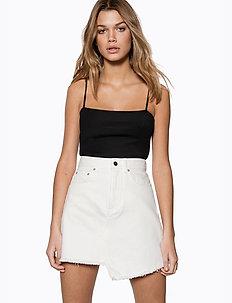 Raw Edge Denim Skirt - white