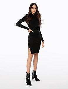 HIGH NECK BODYCON DRESS - courtes robes - black