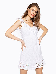 ENGLISH LACE FRILL DRESS - courtes robes - white