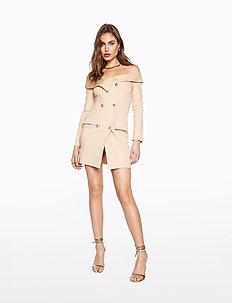 OFF SHOULDER BLAZER DRESS - wrap dresses - beige