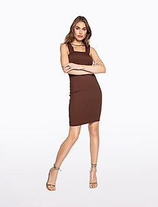 FRILL SHOULDER RIB DRESS - courtes robes - brown