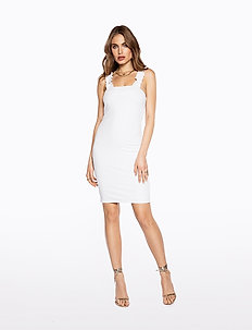 FRILL SHOULDER RIB DRESS - courtes robes - cold white