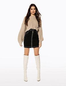 FRONT ZIP TWILL SKIRT - jupes en jeans - black