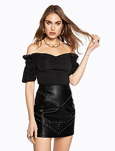MESH SLEEVE TOP - t-shirts - black