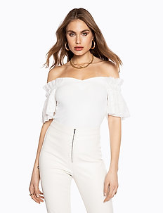 MESH SLEEVE TOP - t-shirts - off white