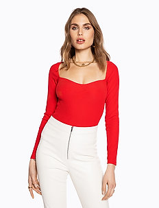 HEART SHAPED TOP - hauts à manches longues - red
