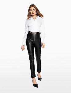 FAUX LEATHER TROUSERS - pantalons en cuir - black