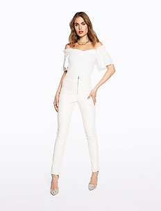 FAUX LEATHER TROUSERS - pantalons en cuir - off white