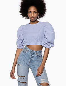 Puff Sleeve Crop Top - blouses à manches longues - blue mix