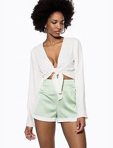 Curved Hem Shorts - casual shorts - pastel green