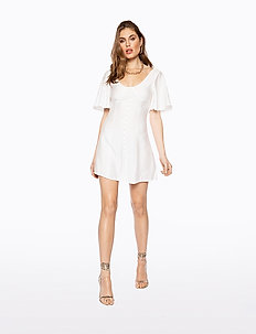 BUTTON UP CORSET DRESS - courtes robes - white