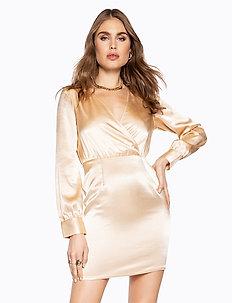 V NECK DRAPY DRESS - courtes robes - gold